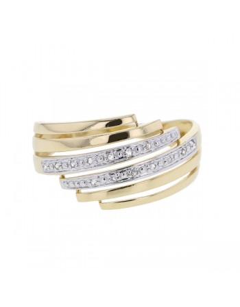 Bague double pavage diamants en or jaune