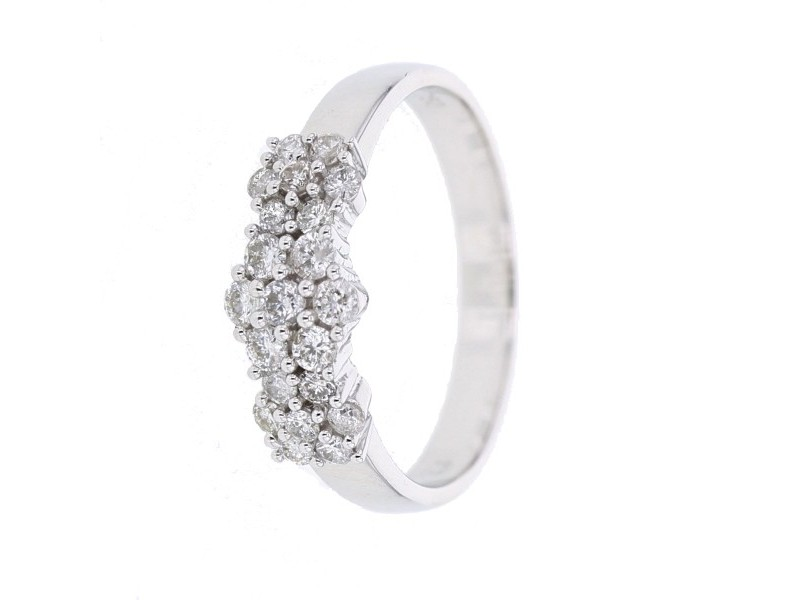 Bague 3 choux diamants en or blanc
