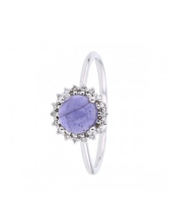 Bague iolite et entourage de diamants en or blanc
