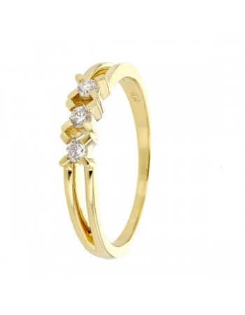 Bague trilogie de diamants moderne en or jaune