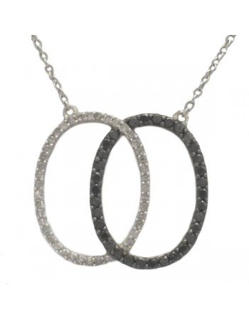 Black and white pave set diamonds necklace in 9 K gold