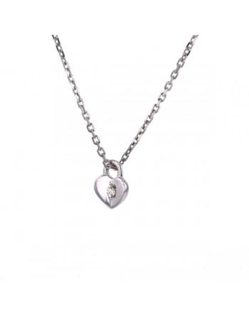 Collier coeur cadenas avec diamants en or blanc