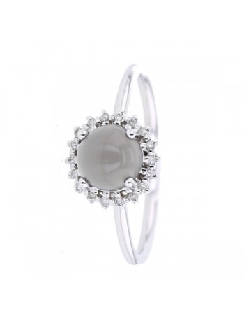 Diamond halo grey moon stone ring in 9 K gold