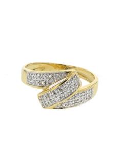 Bague serptentine pavée de diamants en or jaune