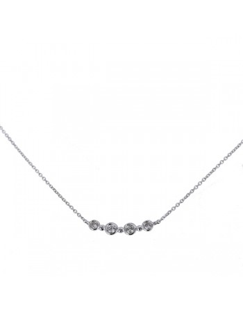 Bezel-set diamond necklace in 9 K gold