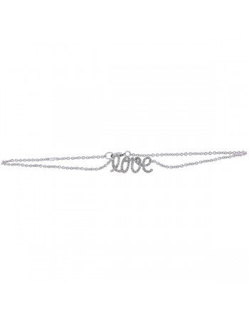 Love inscription pave set bracelet with diamonds in 9 K gold