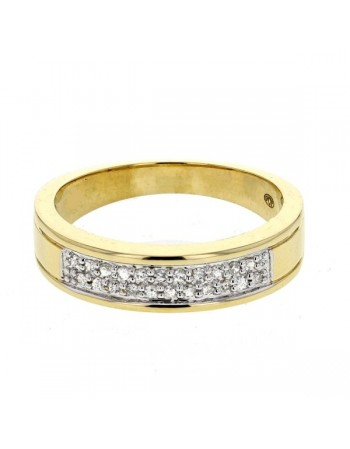 Flat pave set diamonds ring in 9 K gold