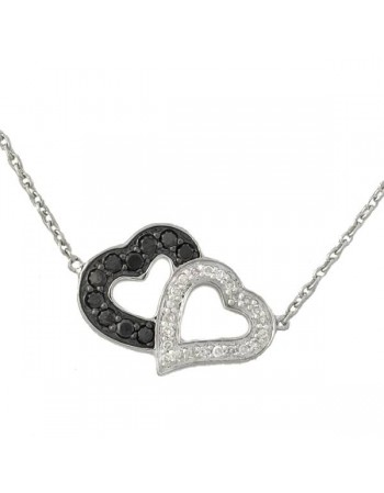 Two hearts necklet with black and white diamonds in 9 K gold