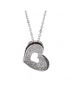 Collier coeur diamants noirs et blancs en argent