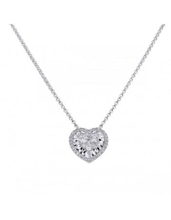 Collier coeur diamants serti cnc en or blanc