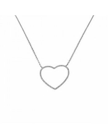 Heart shape diamonds pave set necklace in 9 K gold