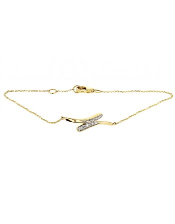 Shaped diamond set bracelet in 9 K gold