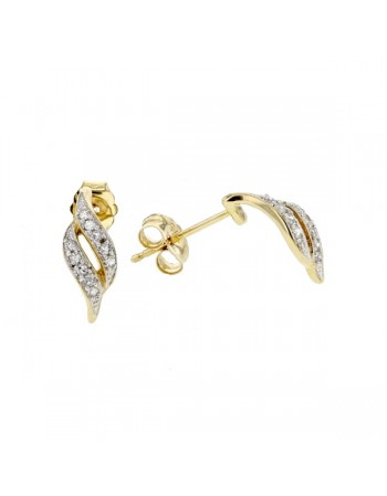 Boucles d'oreilles pavées diamants en or jaune