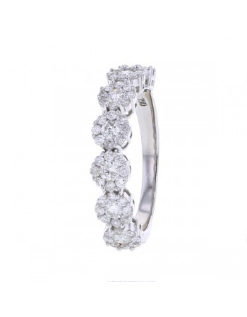 Bague alliance multi-pierres diamants en or blanc