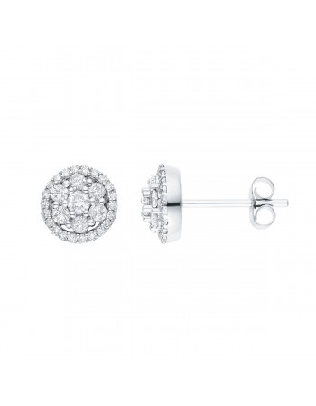 Boucles d'oreilles multi-pierres diamants entourage sertis griffes en or blanc