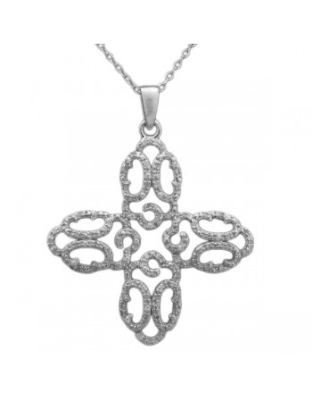 Filigree cross pave set necklace in 9 K gold