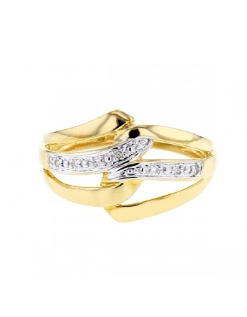Bague triangles avec diamants en or jaune