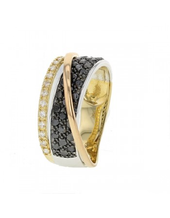 Pave set three colour diamond ring in 18 K gold