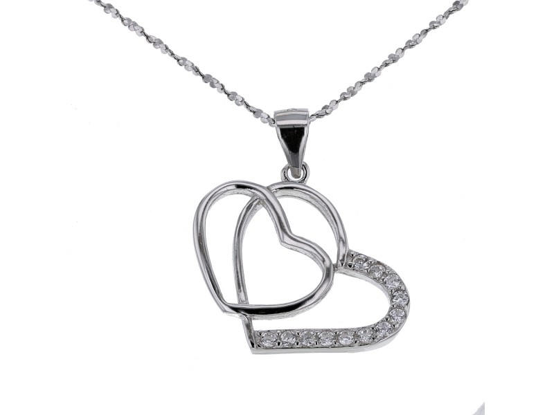 Cubic zirconia pendant with chain in silver 925/1000