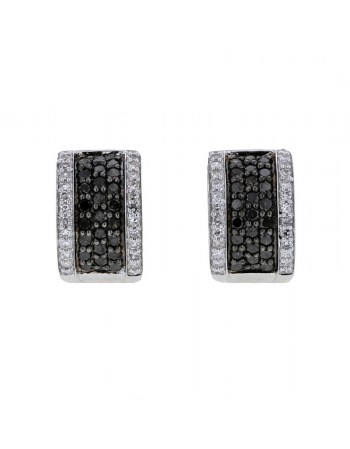 Pave set black and white earrings in silver