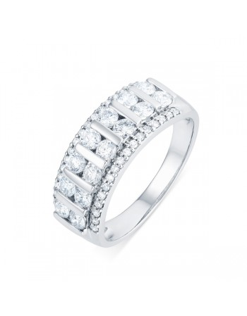 Large wedding band channel set diamonds in 18 K gold