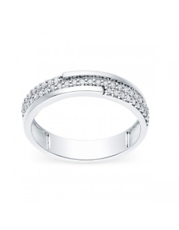 Geometrical pave set diamond ring in 9 K gold