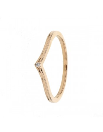 Bague alliance en aile un diamant sertis grains en or rose