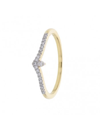 Wishbone shaped engagement ring in 18 K gold