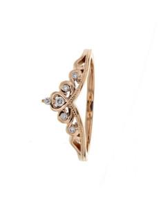 Bague de fiançailles couronne sertie de diamants en or rose
