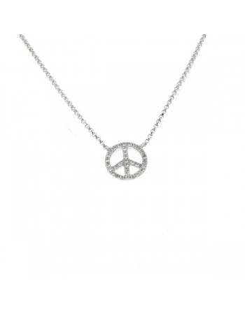 Collier peace and love pavé de diamants en or blanc