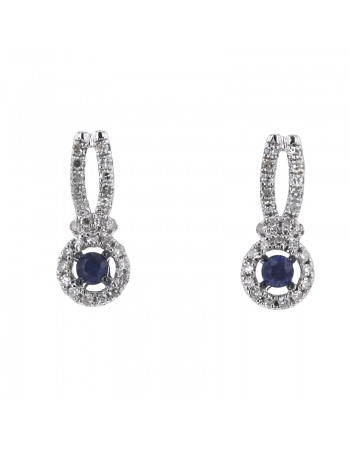 Boucles d'oreilles saphirs entourages de diamants en or blanc