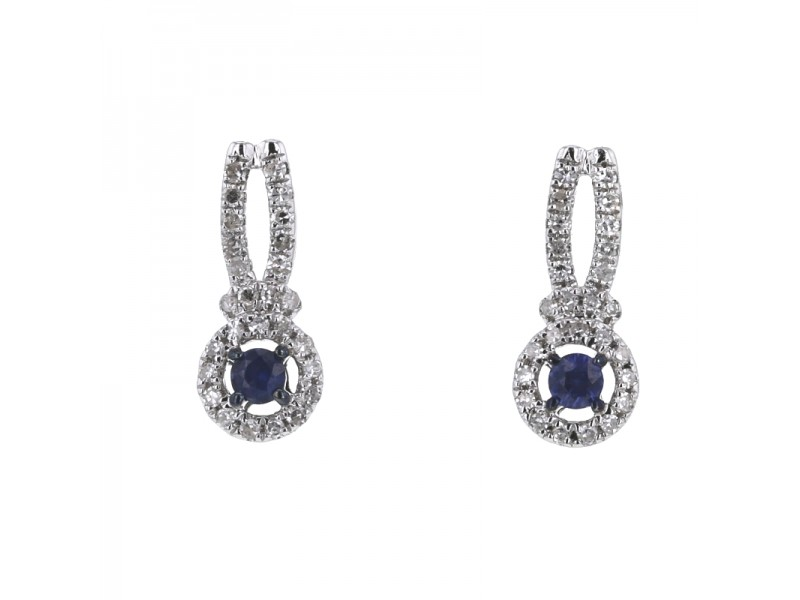 Diamond halo sapphire earrings in 18 K gold