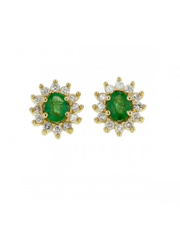 Diamond halo earrings with emeralds in 9 K gold