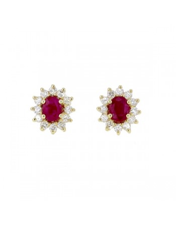 Diamond halo earrings with rubies in 9 K gold