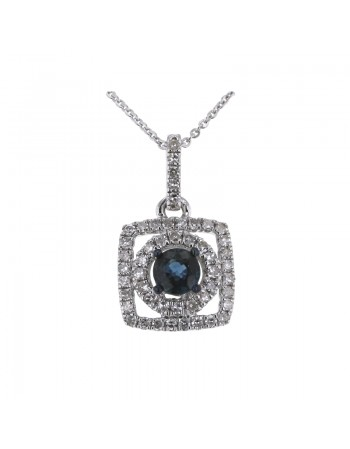 Square diamond halo sapphire pendant in 18 K gold