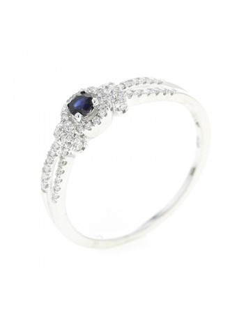 Diamond halo sapphire ring in 18 K gold