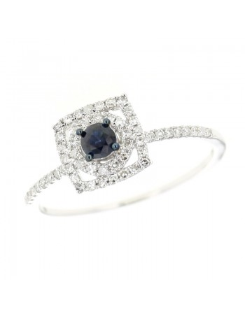 Square diamond halo sapphire ring in 18 K gold