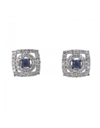 Square diamond halo sapphire earrings in 18 K gold