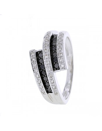 Bague diamants noirs en or blanc
