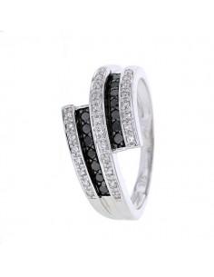Bague diamants noirs en or blanc