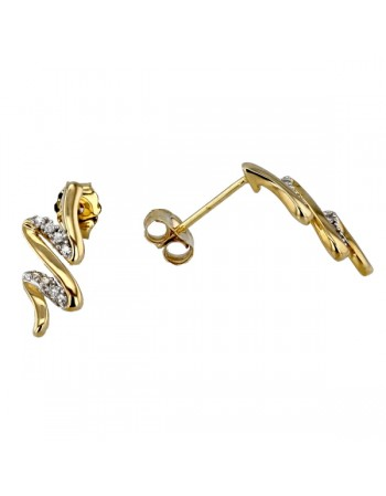 Wave shape pave set diamonds earrings in 9 K gold