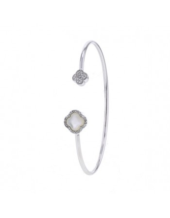 Bangle bracelet with a flower in mother of pearl and diamonds in 18 K gold