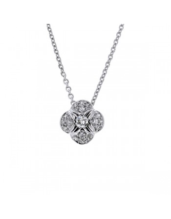Pave set cushion solitaire diamond necklace in 18 K gold