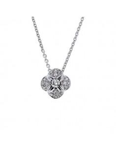 Collier solitaire avec coussin pavé de diamants en or blanc