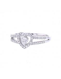 Bague coeur solitaire entourage de diamants en or blanc