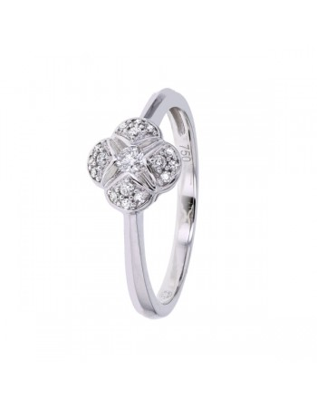 Pave set cushion ring with solitaire diamond in 18 K gold