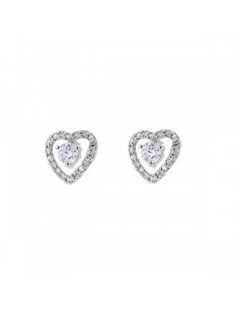 Boucles d'oreilles diamants entourage diamants en or blanc
