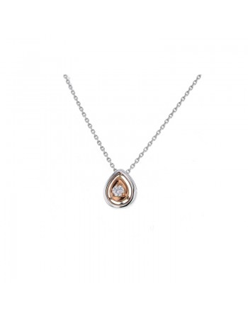 Collier solitaire diamants goutte détail or rose en or blanc