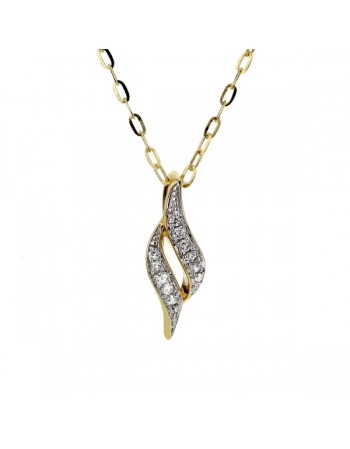 Shaped pave set diamond pendant in 9 K gold
