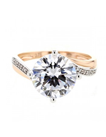 Impressive cz solitaire ring diamond sided in 9 K gold
